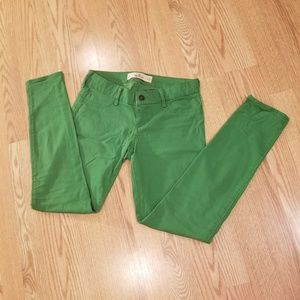 Hollister green skinny low rise pants